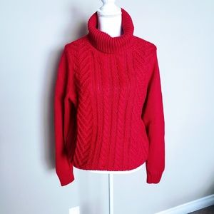 LAND'S END CABLE KNIT CHUNK SWEATER SIZE L